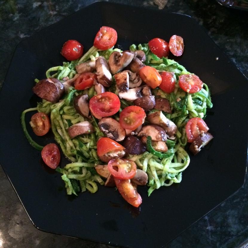 Garlic Pesto Zucchini Noodles